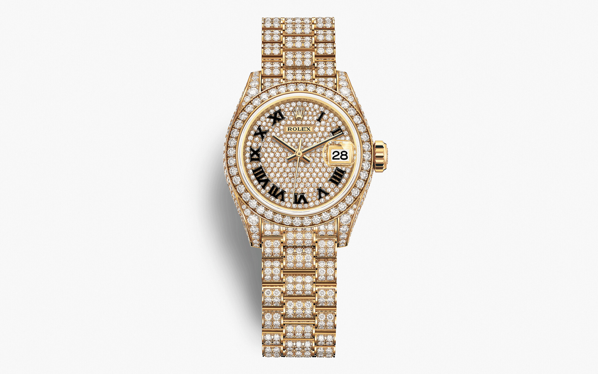 Rolex Lady-Datejust 2021Oyster, 28 mm, oro giallo e diamanti
