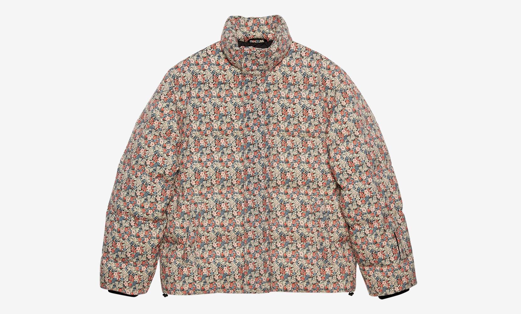Giacca imbottita in lana a fiori Gucci Liberty