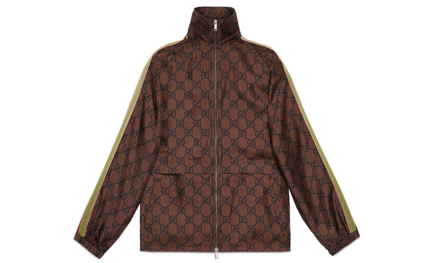 Gucci giacca in seta con cerniera e stampa GG Supreme