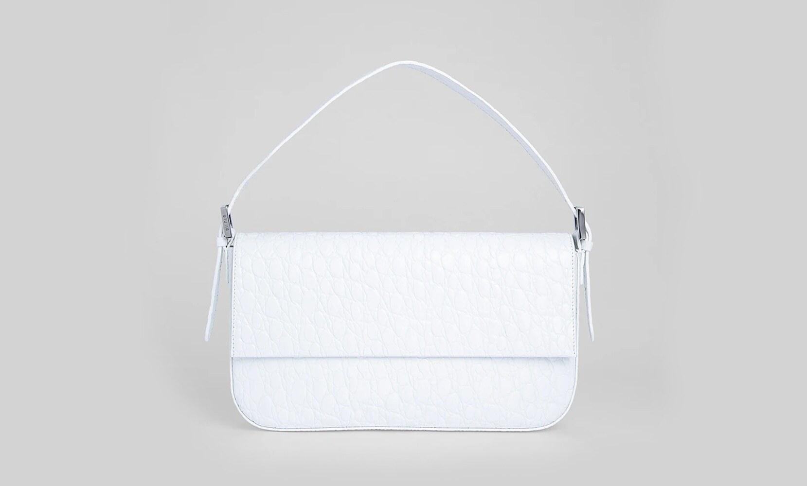 ByFar manu optic white circular croco embossed leather