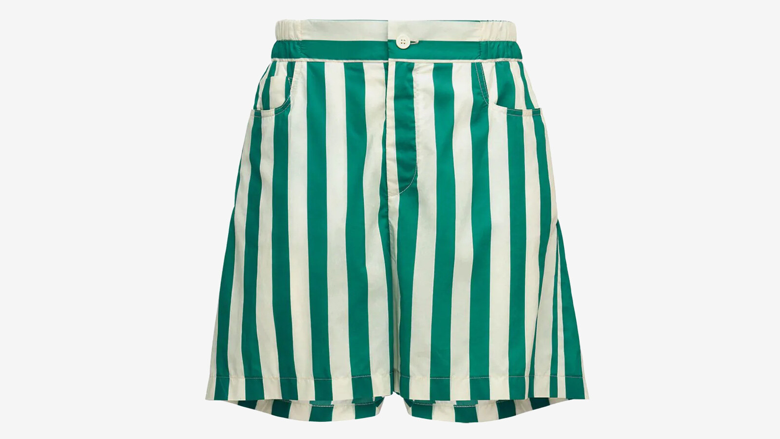 Sunnei - off white & mint striped shorts